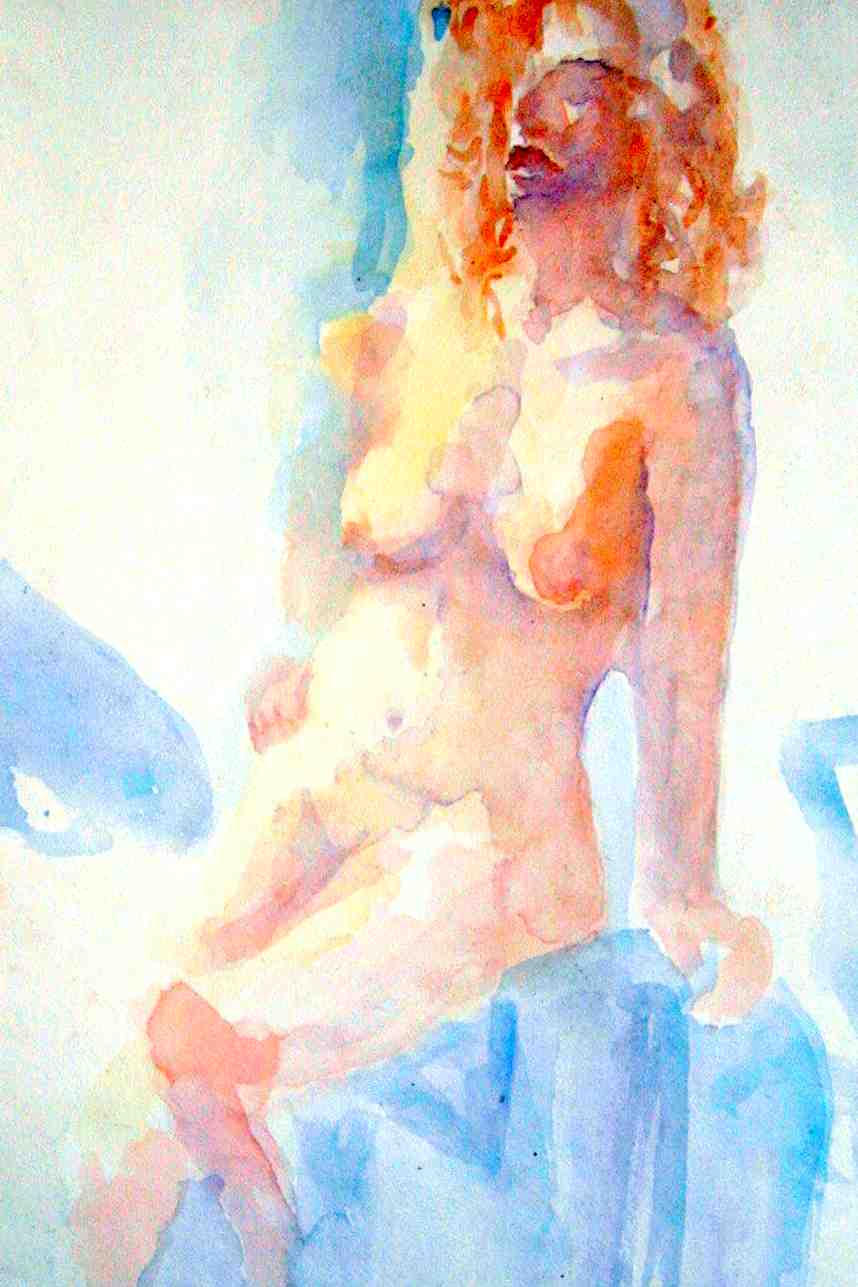 Sitting Nude 22x28 watercolor $400.00
