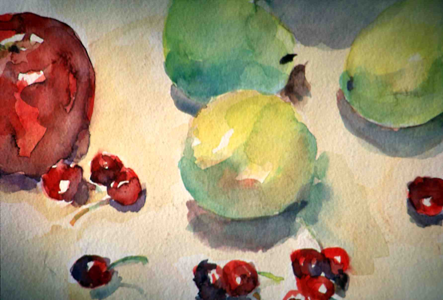Apples and cherries 11x17 watercolor sold